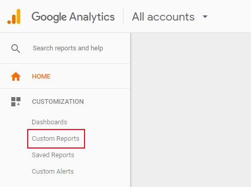 Google Analytics custom reports step 1