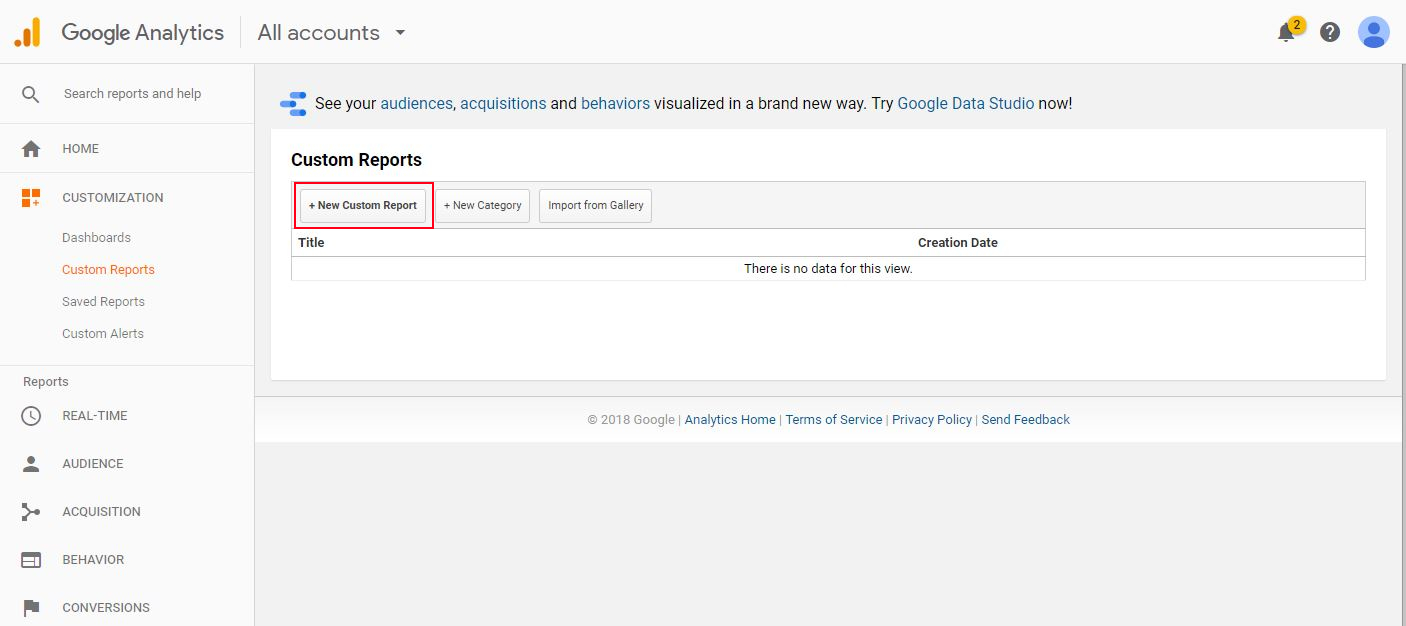 Google Analytics custom reports step 2