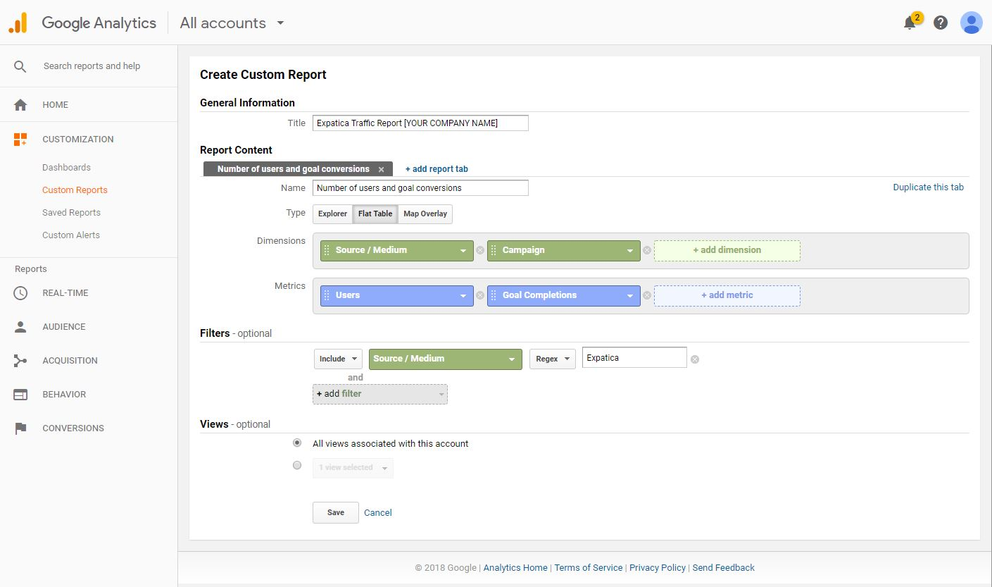 Google Analytics custom reports step 3