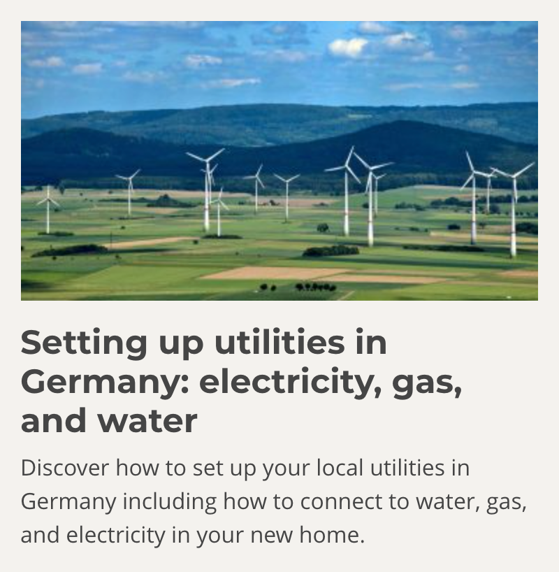 Setting up Utilities in Germany